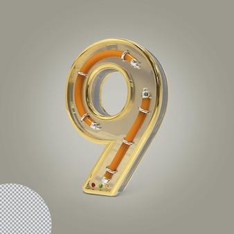 3d número 9 ilustrações douradas