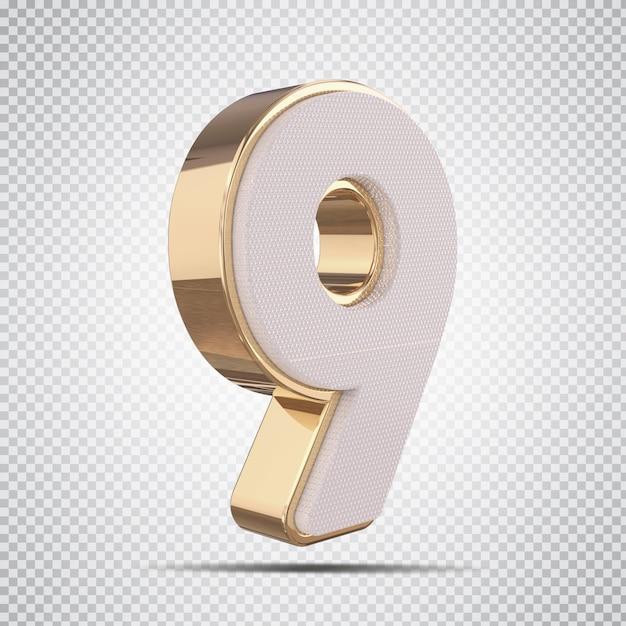 3d número 9 luxo dourado render design criativo