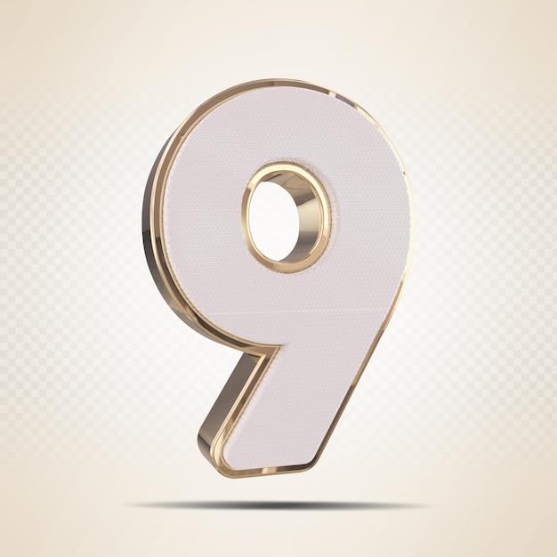3d número 9 ouro render