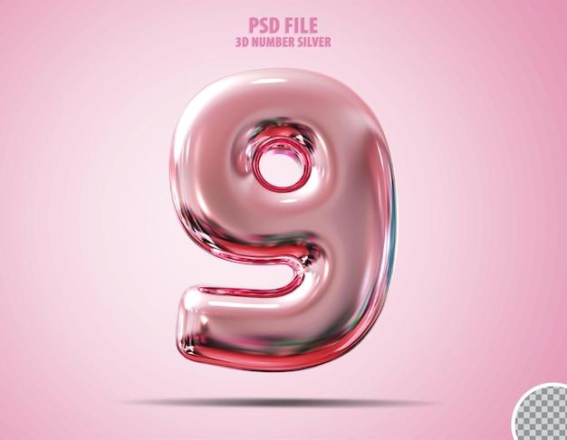 3d número 9 rosa luxo render