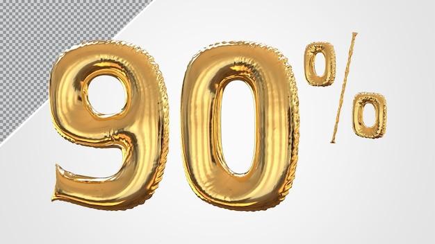 3d número balão de 90 por cento dourado