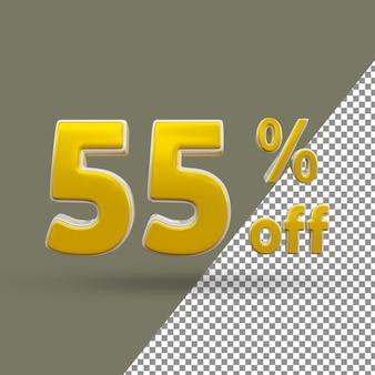 3d número de texto dourado com 55 por cento de desconto