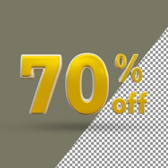 3d número de texto dourado com 70% de desconto