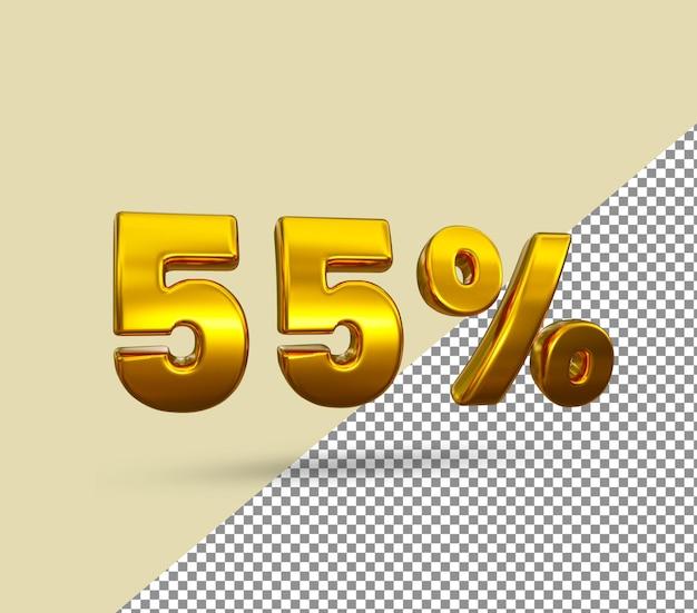3d número dourado com 55 por cento de desconto
