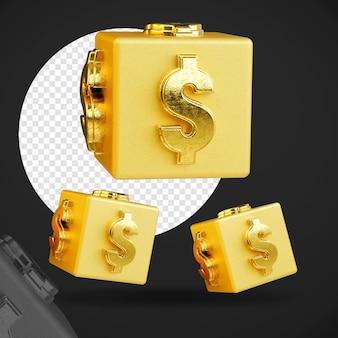 3d ouro cifrão cubo várias posições isoladas