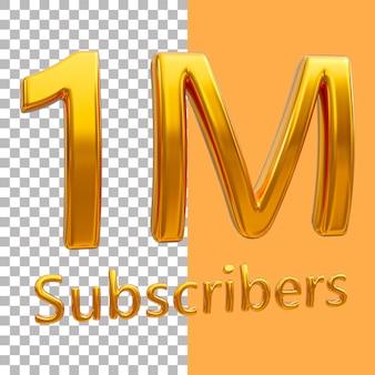 3d ouro número 1 milhão de assinantes renderizando imagens