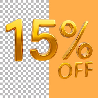 3d ouro número 15 por cento de desconto na renderização de imagens