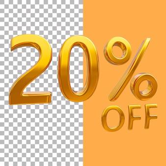 3d ouro número 20 por cento de desconto na renderização de imagens