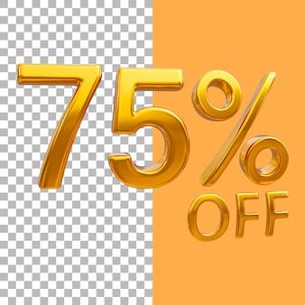 3d ouro número 75 por cento de desconto na renderização de imagens