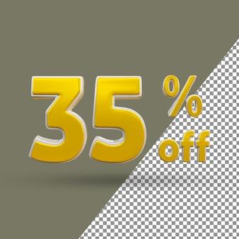 3d ouro número de texto com 35 por cento de desconto