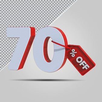 3d percentagens de oferta de 70 por cento