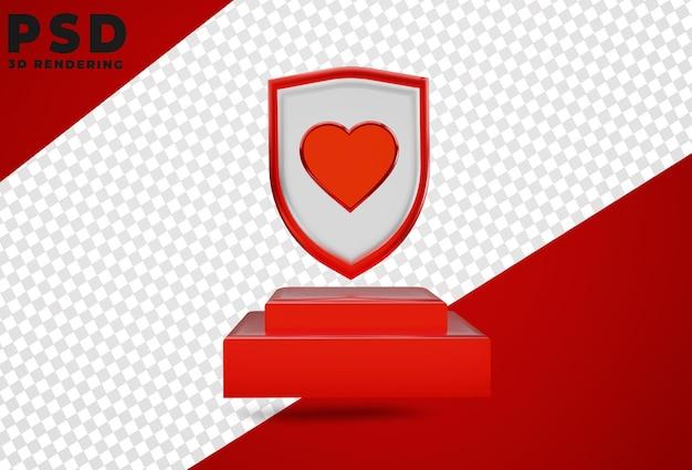 3d perisai logo love isolated