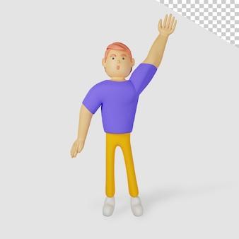 3d personagem masculino acenando