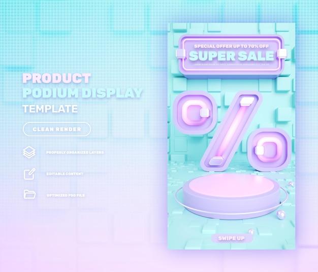 3d pinkpodium display de produto em mídia social modelo de história instagram para venda em flash super venda
