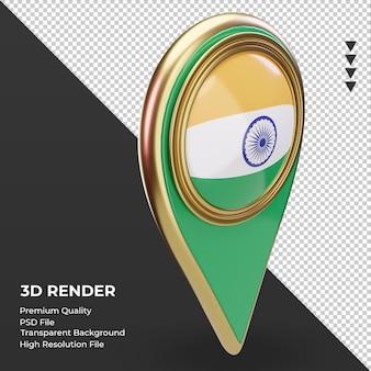 3d pino de localização da bandeira da índia renderizando a vista esquerda