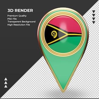 3d pino de localização da bandeira de vanuatu renderizando vista frontal
