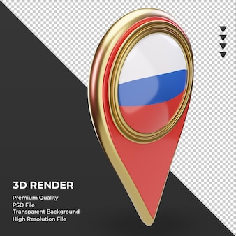 3d pino de localização da bandeira russa renderizando a vista esquerda