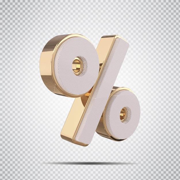 3d por cento dourado luxo render design criativo