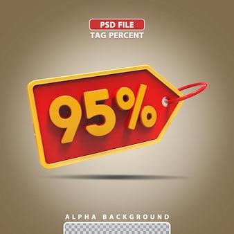 3d porcentagem 95 por cento