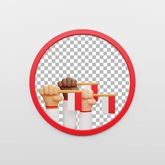 3d poster aset modelo ilustração bandeira branca vermelha dia da independência na indonésia