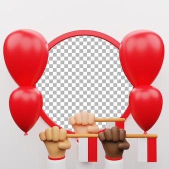 3d poster aset modelo vermelho bandeira branca ballon ilustração dia da independência na indonésia