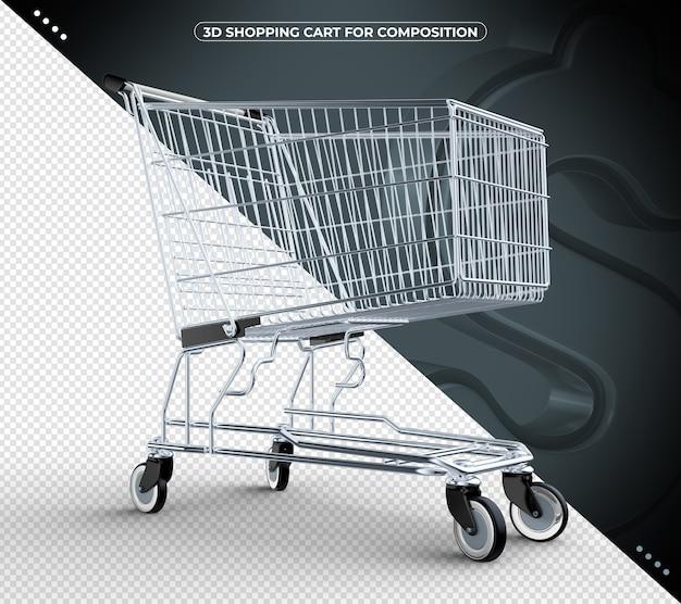 3d preto isolado carrinho de compras isolado