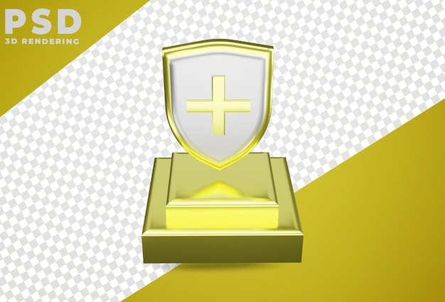 3d proteção médica escudo de saúde isolado