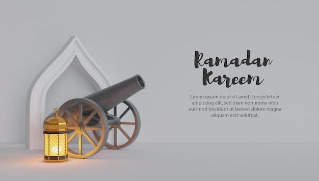 3d ramadan kareem com canhão e lâmpada