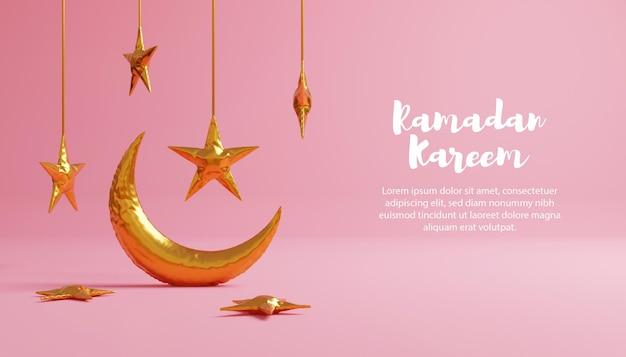 3d ramadan kareem com lua e balão estrela