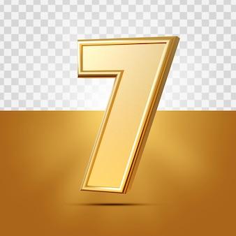 3d realista 7 números ouro isolado