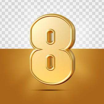 3d realista 8 números ouro isolado