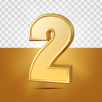 3d realista de 2 números ouro isolado