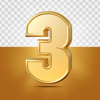 3d realista de 3 números ouro isolado