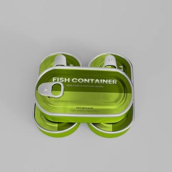 3d realista de metal para peixes container maquete psd