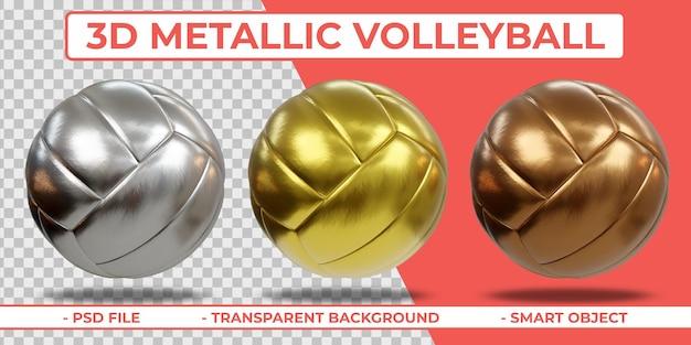 3d realista metalic volleyball 3d renderização isolada