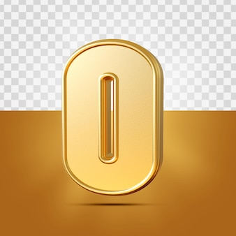 3d realista número 0 ouro isolado