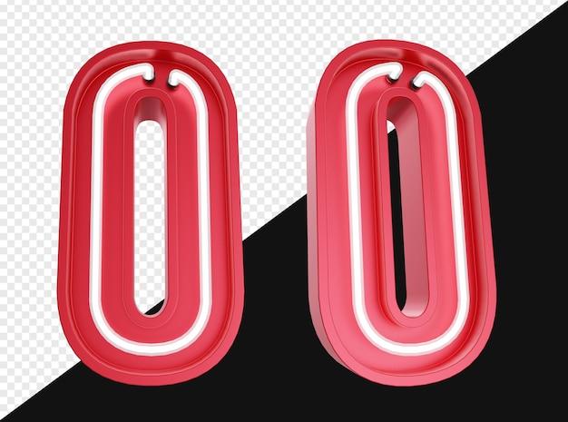 3d realista número zero com luz de néon isolada