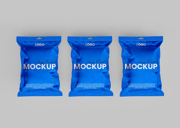 3d realistic chips packet mockup
