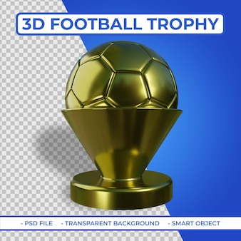 3d realistic dourado metalic football trophy renderização 3d isolada