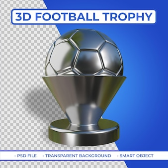 3d realistic silver metalic football trophy renderização 3d isolada