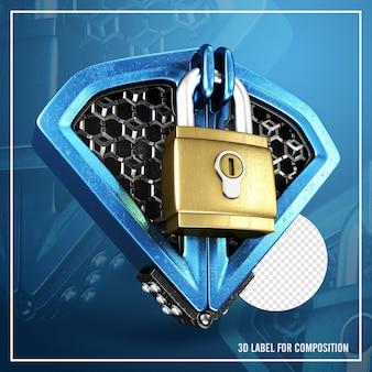 3d redering premium blue security lock