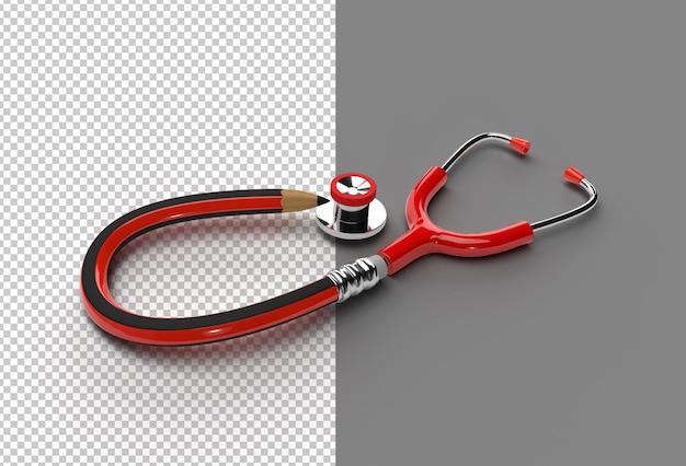 3d rendem arquivo psd transparente do estetoscópio médico.