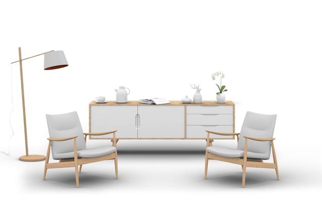 3d rendem de móveis de estúdio com poltrona, luminária, aparador