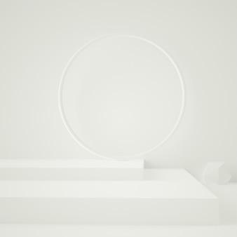 3d rendem do pódio abstrato branco