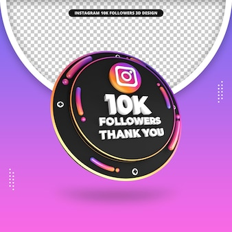3d render 10 mil seguidores no design do instagram