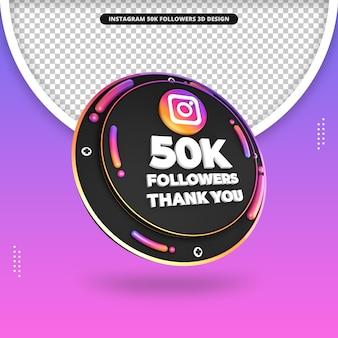 3d render 50 mil seguidores no design do instagram