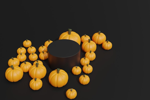3d render abóboras de halloween e pódio para estande de produtos
