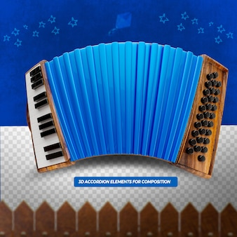 3d render acordeão azul para composição festa junina