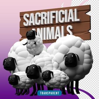 3d render animais de sacrifício ovelhas