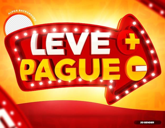 3d render arrow pague menos leve mais campanha brasileira premium psd